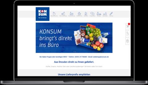 KONSUM B2B Webshop Seite auf MacBook