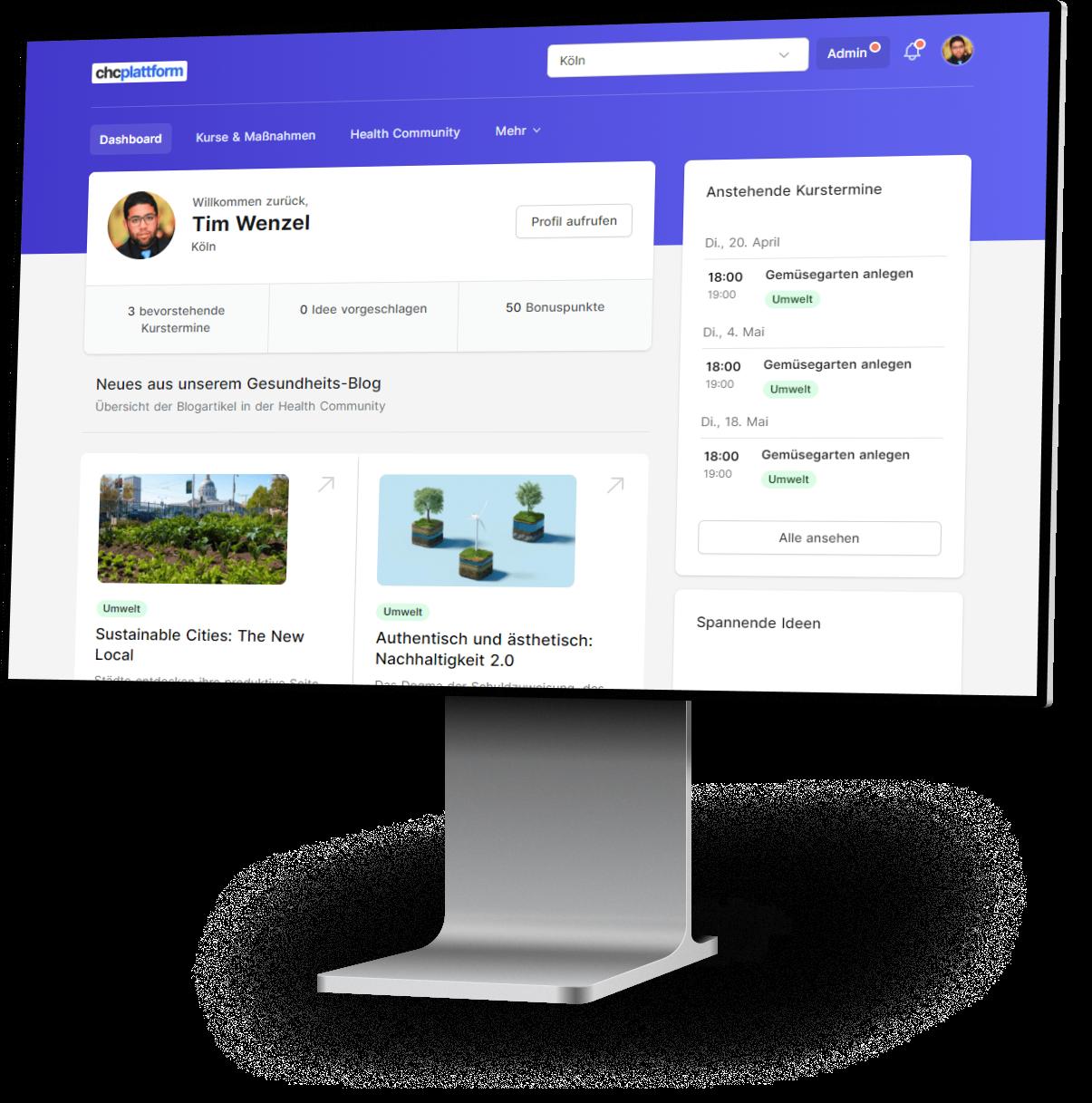 Screenshot CHC Plattform